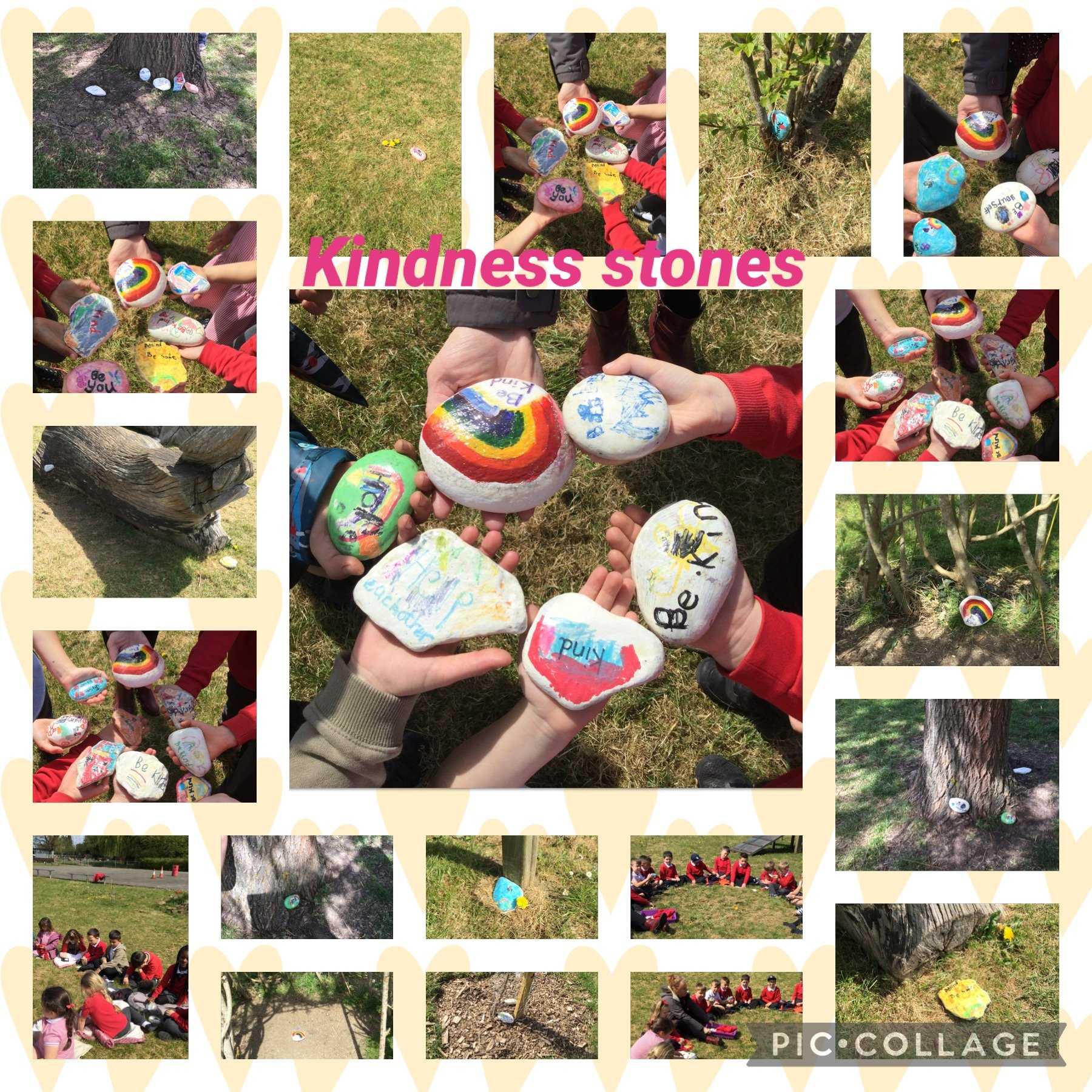 One of our values this term is Kindness. So we made Kindness stones!